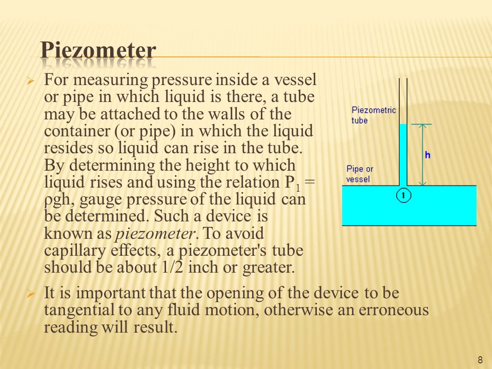 Measure the pressure head of the liquid 9