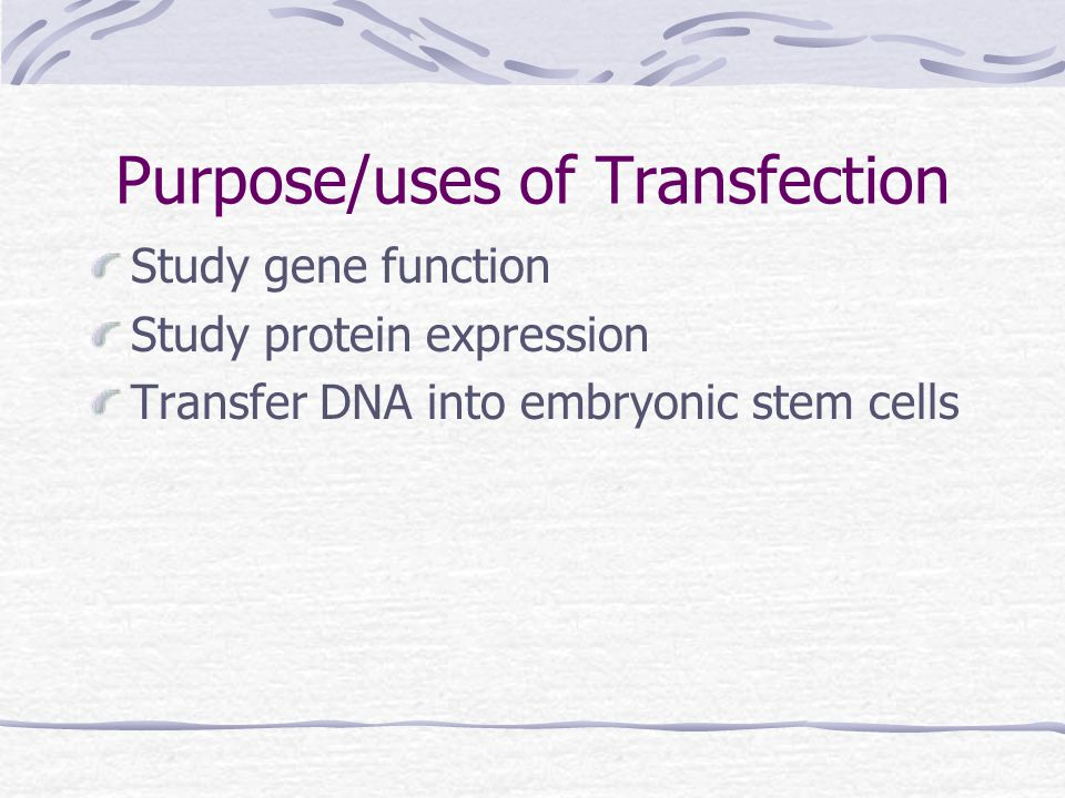 How it works Utilize Chemical, lipid or physical methods (direct microinjection, electroporation, biolistic particle delivery) for transportation of genetic materials or macromolecules.