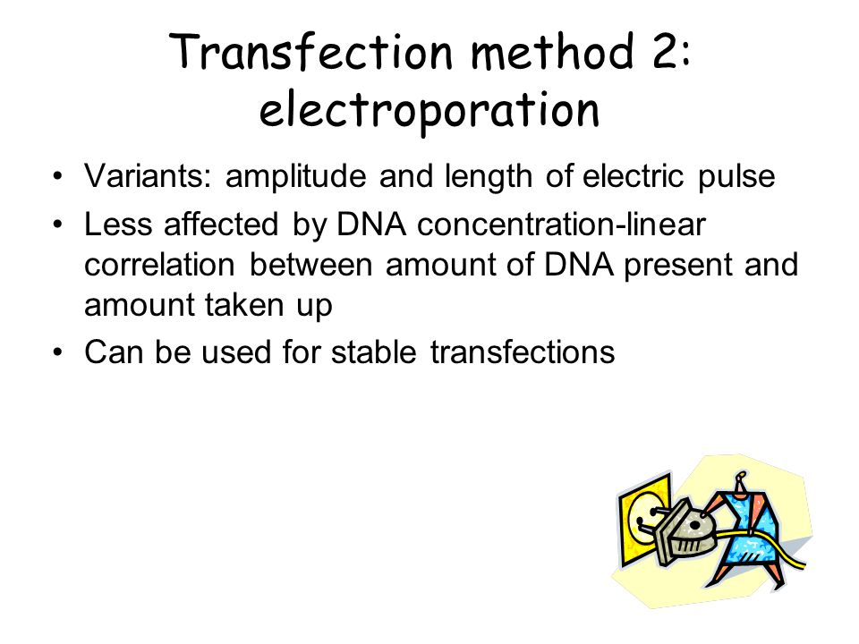 How it works – Physical methods Electroporation: use of high voltage to deliver nucleic acids; pores are formed on cell membrane.