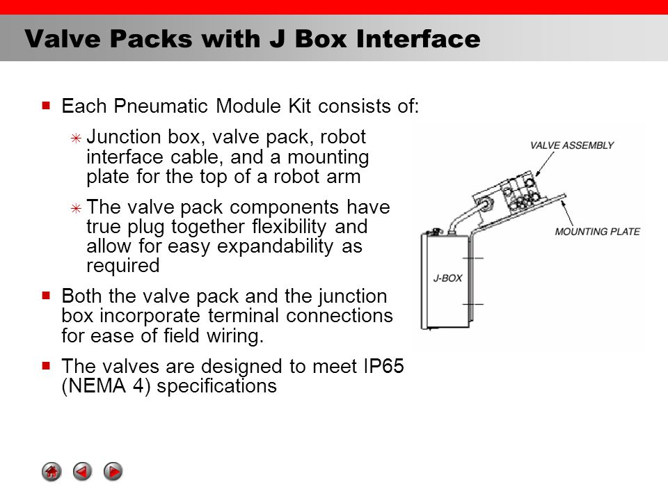 Valve Packs with Turck Block Connection  Each Pneumatic Module Kit consists of:  Valve pack,robot interface cable with Turck block connection, and a mounting plate for the top of a robot arm  The valve pack components have true plug together flexibility and allow for easy expandability as required  The valves are designed to meet IP65 (NEMA 4) specifications