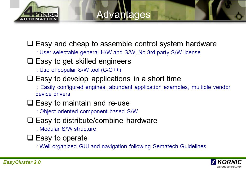 EasyCluster 2.0 S/W Product History RPCluster ClusterLinkClusterLink3 ClusterPro RPCoreControlPro EasyCluster RPI TechwareBrooks Kornic EasyCluster2.0 EquipeSoft PRI SEMI/MESC CV Java TI ControlWorks ACT DOSNT merged