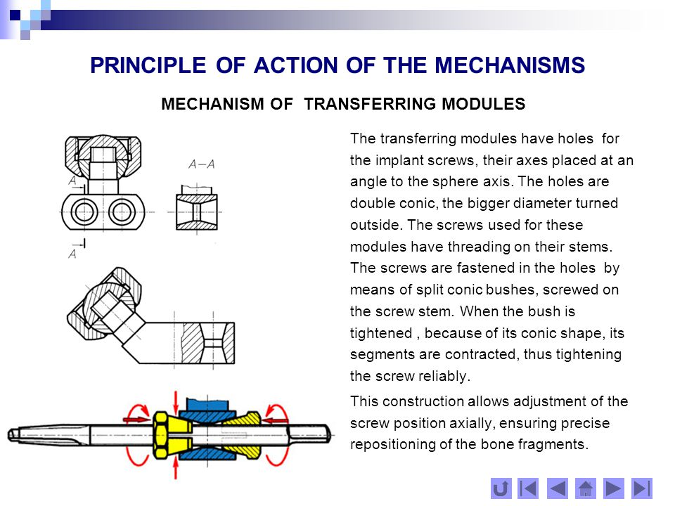 PRINCIPLE OF ACTION OF THE MECHANISMS MECHANISM OF TRANSFERRING MODULES
