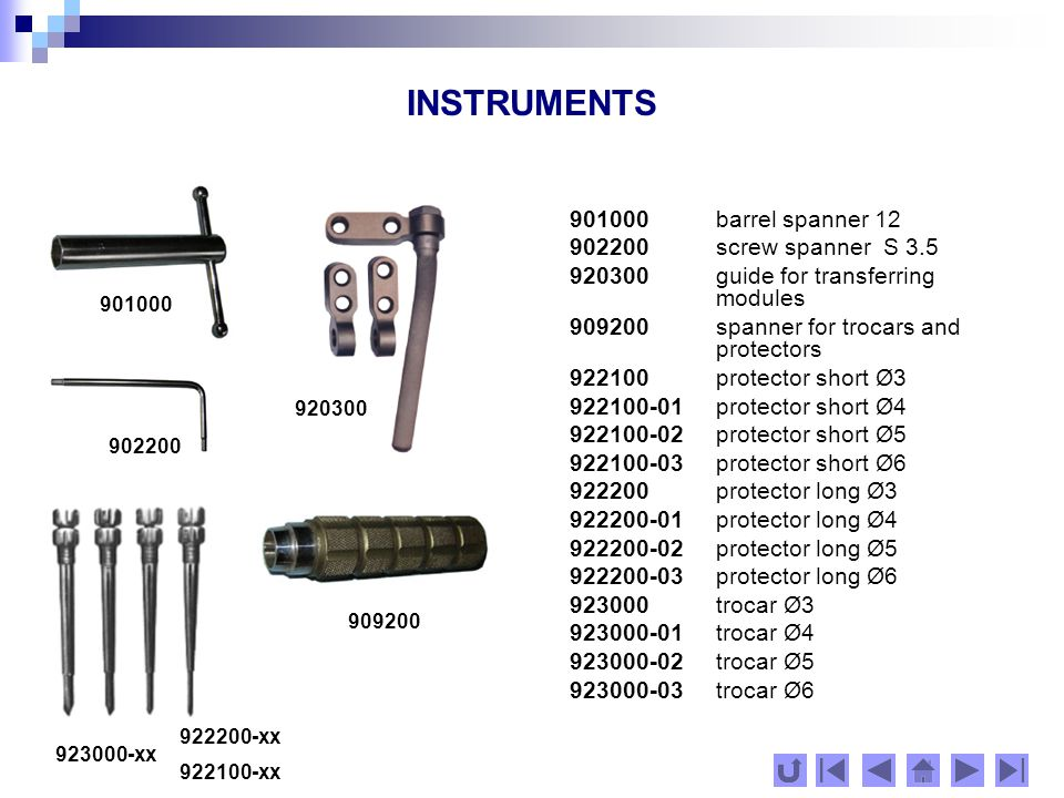 SCREWS Note: In working with the system it is admissible to use implant screws and spokes of other systems and manufacturers, allowed for clinical use.