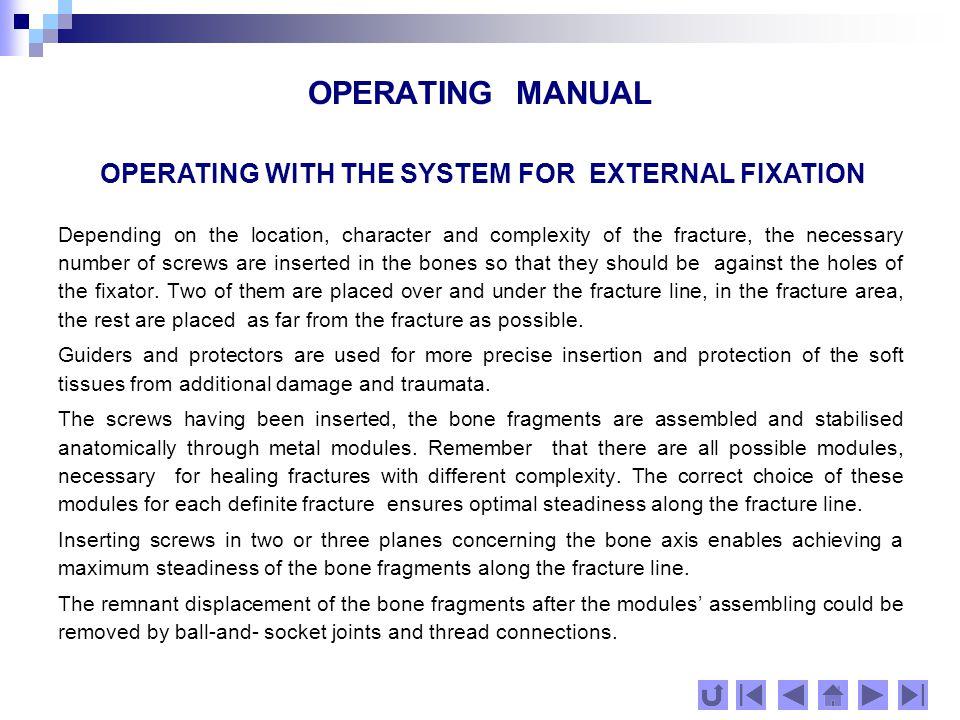 OPERATING MANUAL OPERATING MANUAL THE END