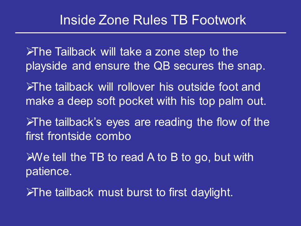 Our Inside Zone Play The Tailback Takes A Zone Step To The Play Side Keeping His Shoulders Parallel To The LOS He Then Works Downhill At The Inside Hip Of The PST He Reads Inside To Outside, Looking For His Lane If The Mike Flows, Hit The A Gap, Then To B, Then To C E W M SETT 3 2 1321 0 A Q