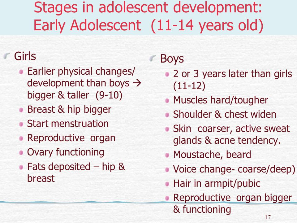 18 Stages in adolescent development: Middle Adolescent (15-17 years old) According to Stanley Hall adolescent stage is the stage of Storm & Stress  i.e.