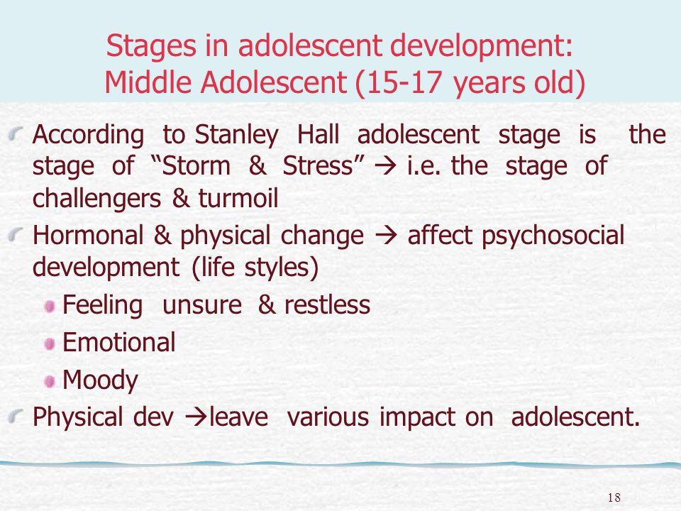 19 Stages in adolescent development: Middle Adolescent (15-17 years old) Girls Body structure  women Height  slower rate Voice  sweeter Acne & weight problem Body hair (pubic, armpit) Sexual potency increases Boys Body structure  men Height  faster rate than girls of same age.