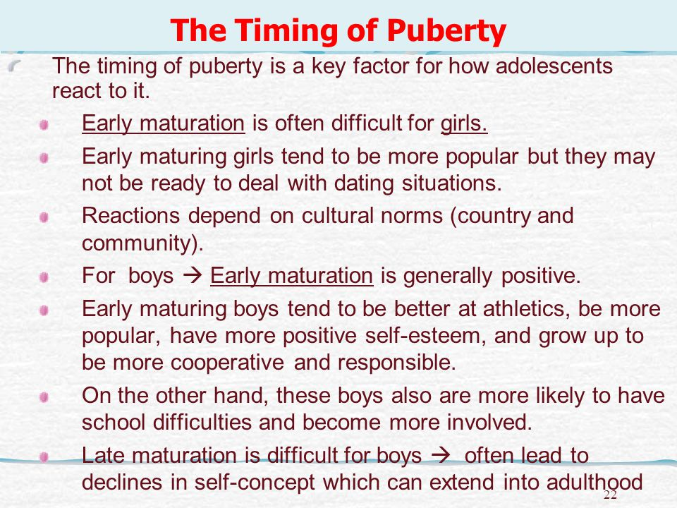 23 The Timing of Puberty, continued For late maturing girls the picture is complicated.