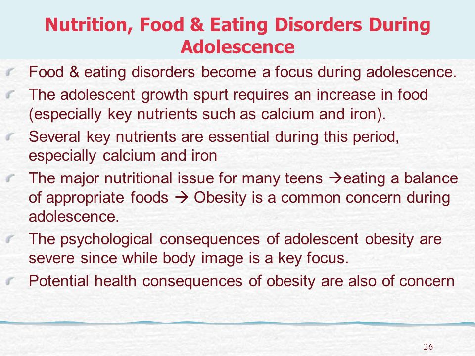 27 Nutrition, Food & Eating Disorders During Adolescence ANOREXIA NERVOSA is a severe eating disorder in which individuals refuse to eat, while denying that their behavior and appearance, which may become skeletal, are out of the ordinary.