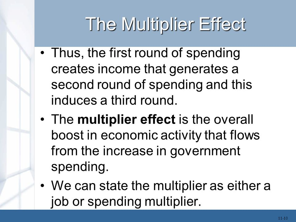 The Multiplier Effect –If the job multiplier is 2, this means that each new government job creates one new private sector job.