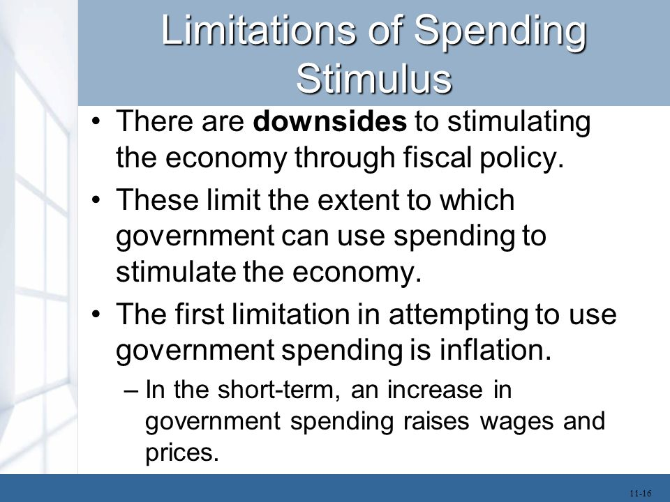 Limitations of Spending Stimulus If real GDP is above potential GDP, then increases in government spending will mostly turn into inflation.