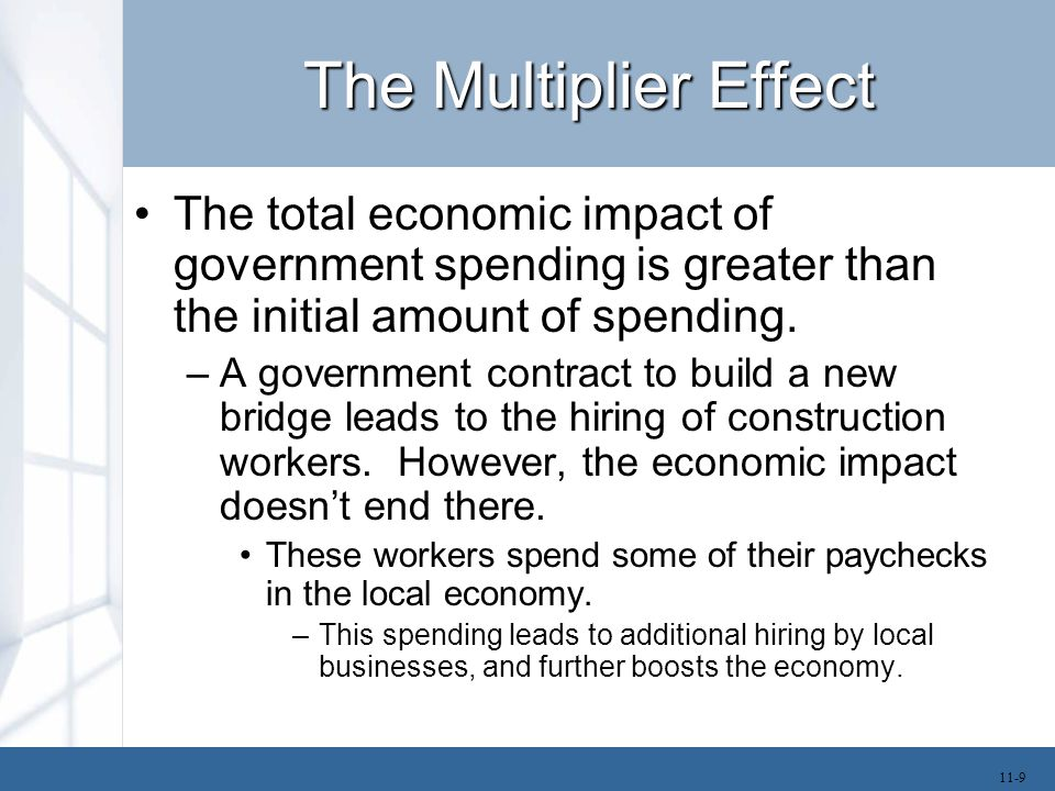 The Multiplier Effect Thus, the first round of spending creates income that generates a second round of spending and this induces a third round.