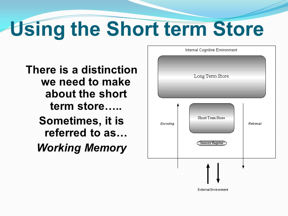Using the Short term Store There is a distinction we need to make about the short term store…..