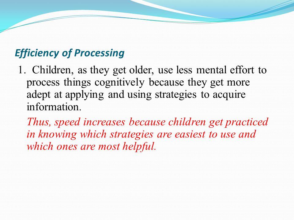 Efficiency of Processing 1.
