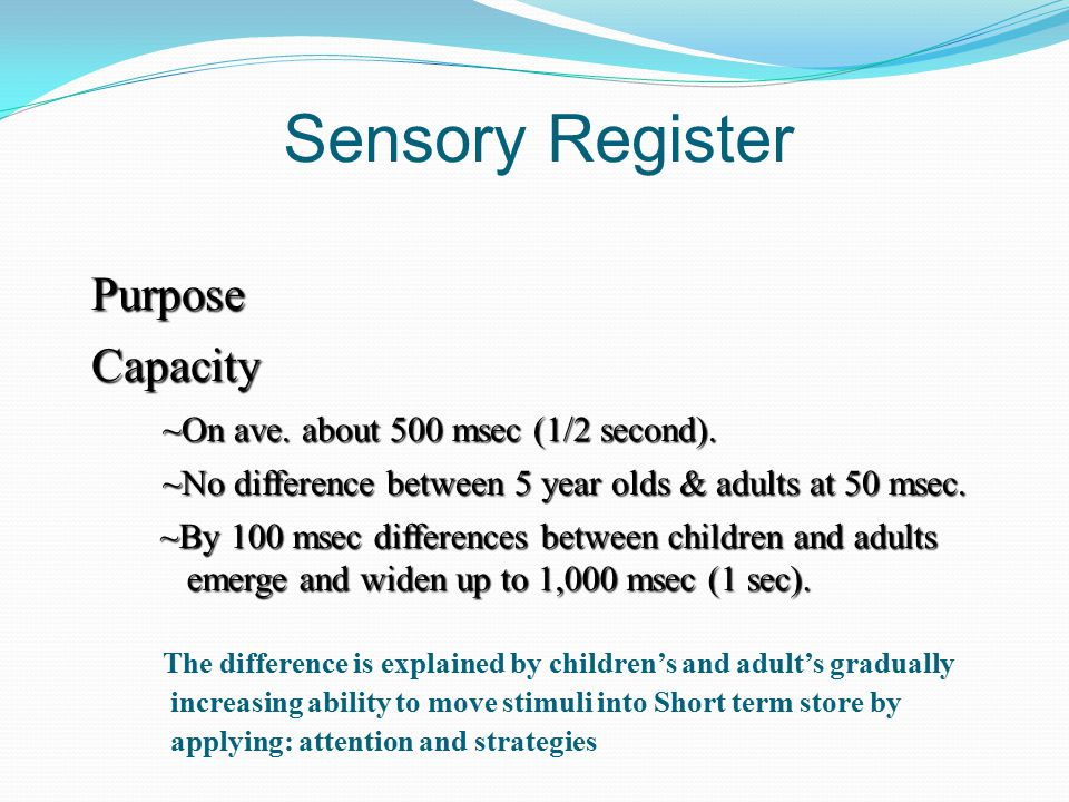 Sensory Register Purpose Capacity ~On ave.about 500 msec (1/2 second).