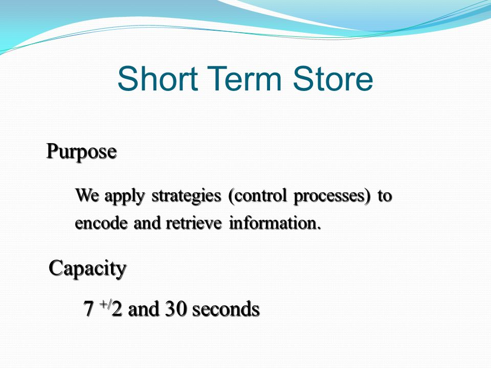 Short Term Store Purpose We apply strategies (control processes) to encode and retrieve information.