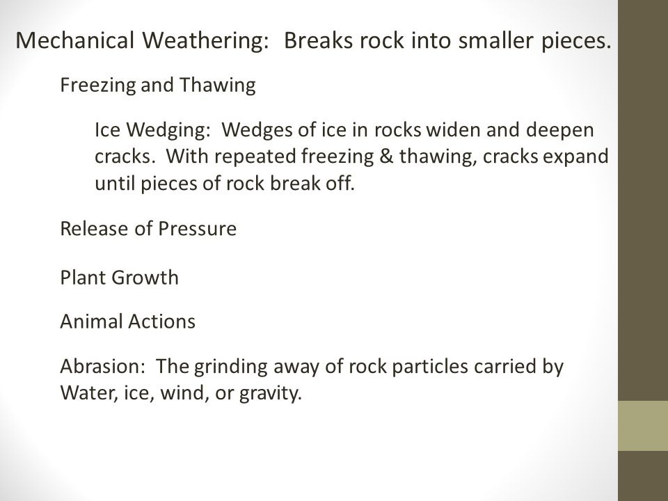 Chemical Weathering: A process that breaks down rock through chemical changes.