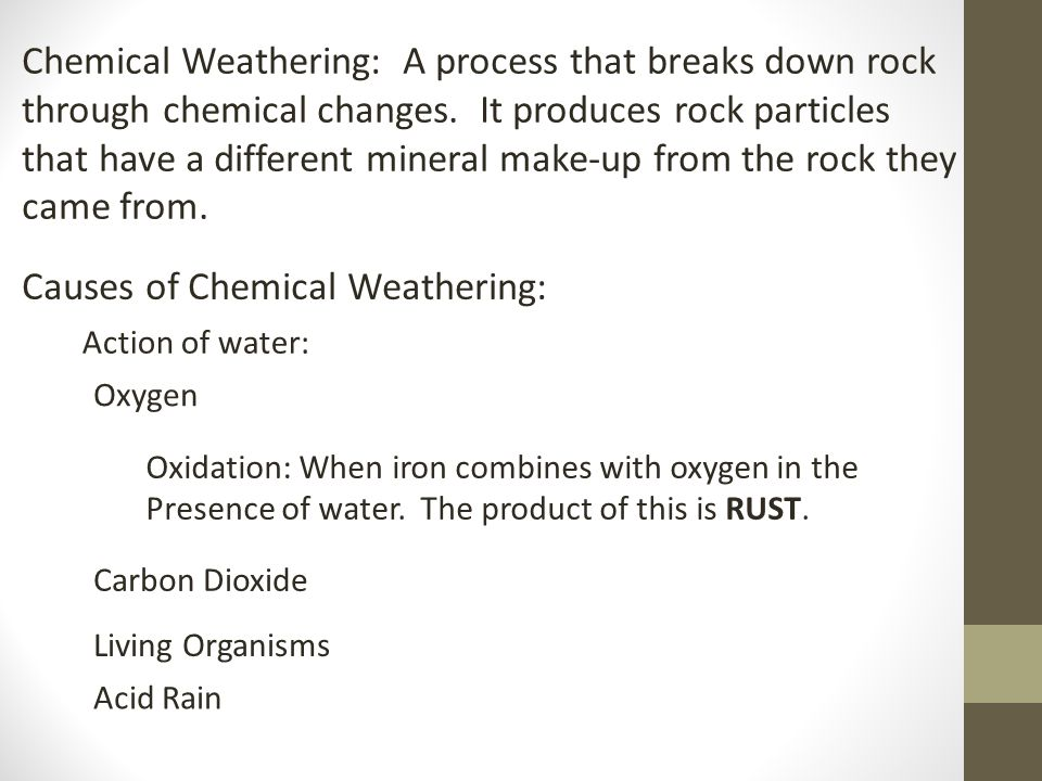 The most important factors that determine the rate at which weathering occurs are the type of rock and the climate.