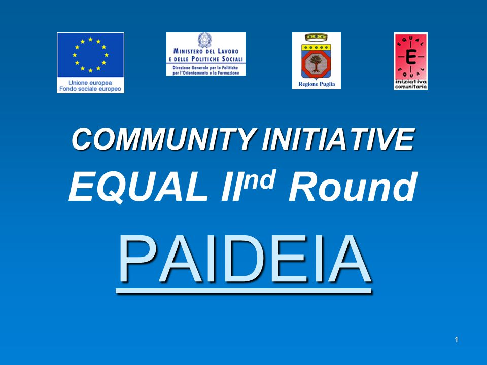 2 PAIDEIA PROJECT PAIDEIA PROJECT has been submitted within AXIS 1 and more specifically:   Theme A: To facilitate the access and the re-integration into the labour market for people who have difficulties to integrate in the market that has to be open to all   Measure 1.1: To create the conditions for the working integration of the most disadvantaged people on the labour market The organisms functional to the implementation of the project activities are the Development Partnership and the Network established through the Co-operation Agreement and the Network Memorandum of understanding.