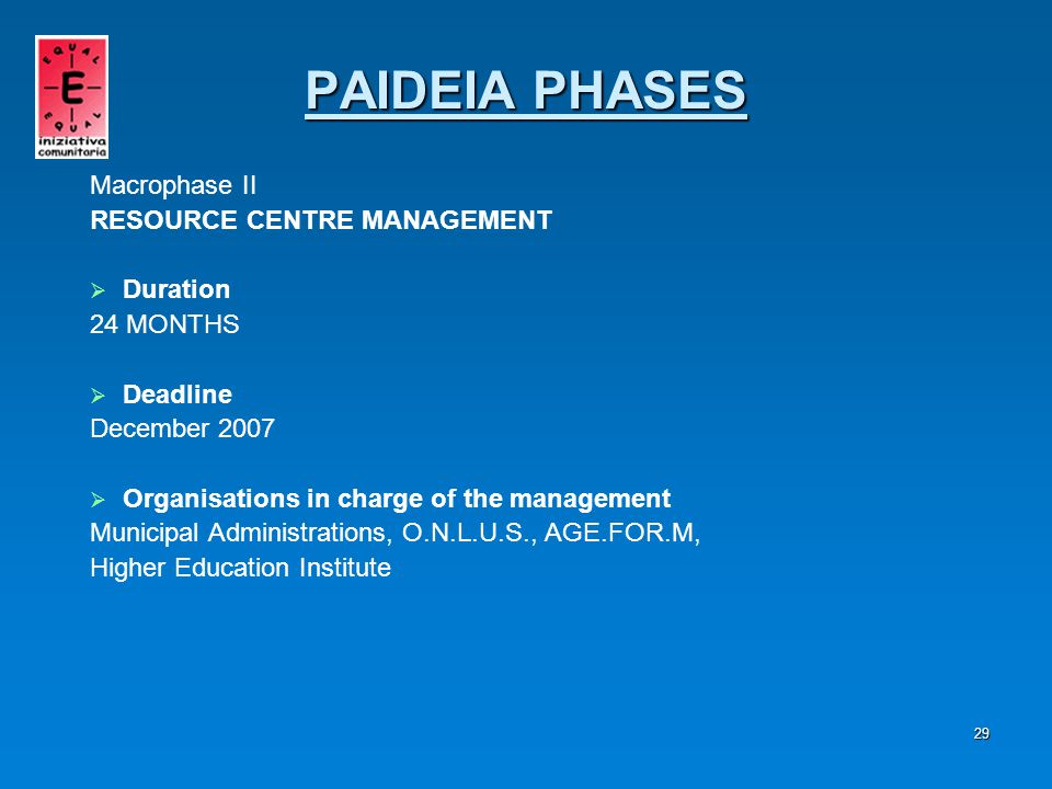 30 DIVERSIFIED INVOLVEMENT WITH:   COMPANIES   VOCATIONAL TRAINING AGENCIES Macrophase II RESOURCE CENTRE MANAGEMENT