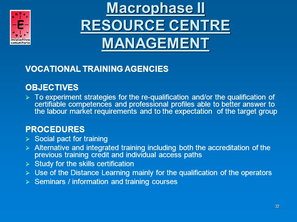 33 Macrophase III SOCIAL INCLUSION   Duration 15 MONTHS   Deadline December 2007   Organisations in charge of the management Assindustria, partner Administration, training Agencies, O.N.L.U.S.