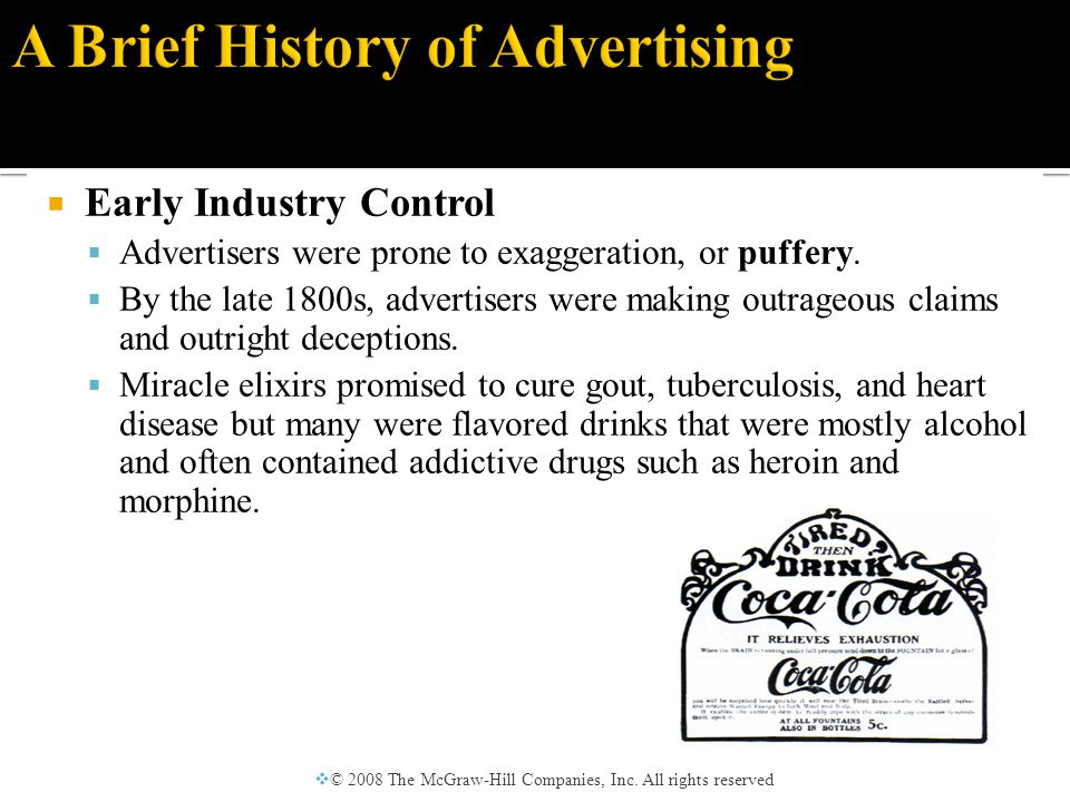  Early Industry Control  The Pure Food and Drug Act was passed in 1906 largely in reaction to patent medicine claims.