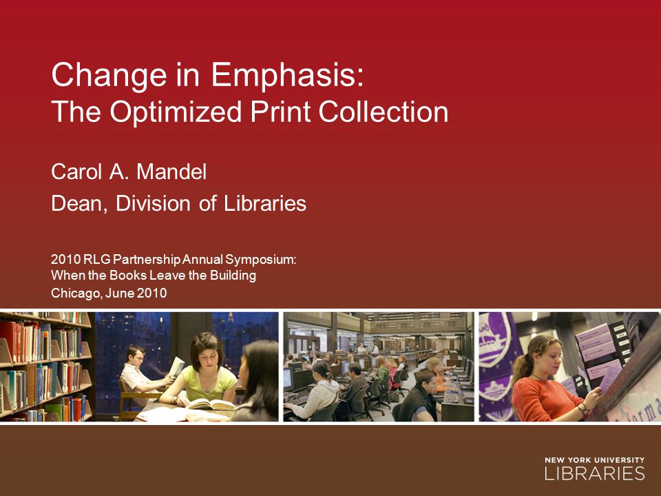 2 Change in Emphasis: The Optimized Print Collection The NYU perspective on library stacks: small is beautiful and less is more Campus size constraints Demand for library seats (48% increase in main library use in last 5 years) Nature of current library use Cost of offsite storage A paper-less library in Abu Dhabi?