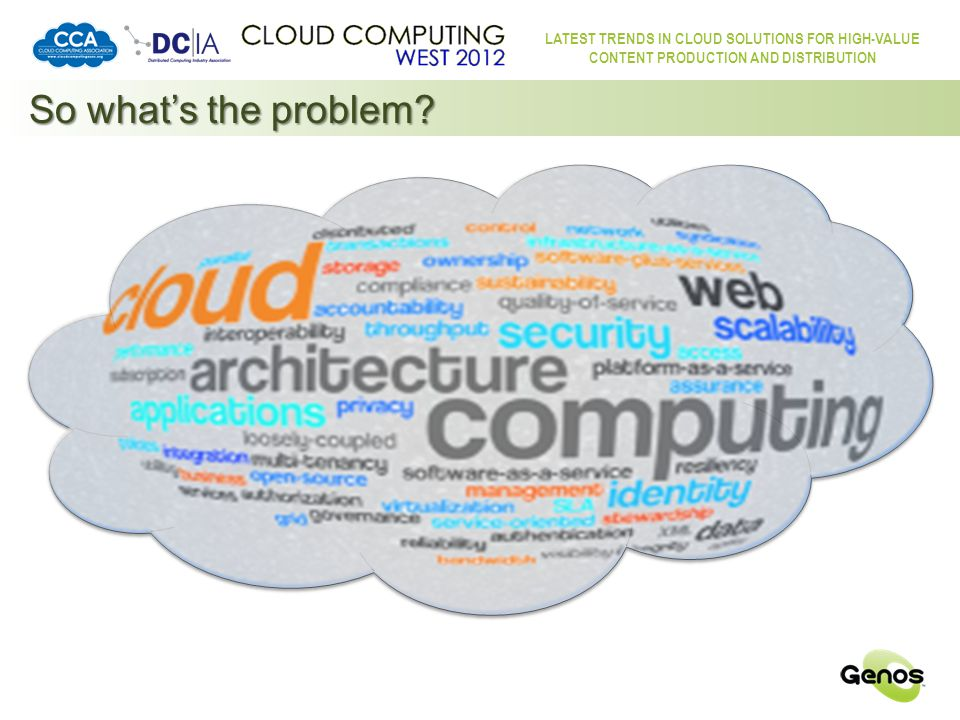LATEST TRENDS IN CLOUD SOLUTIONS FOR HIGH-VALUE CONTENT PRODUCTION AND DISTRIBUTION So what's the problem.