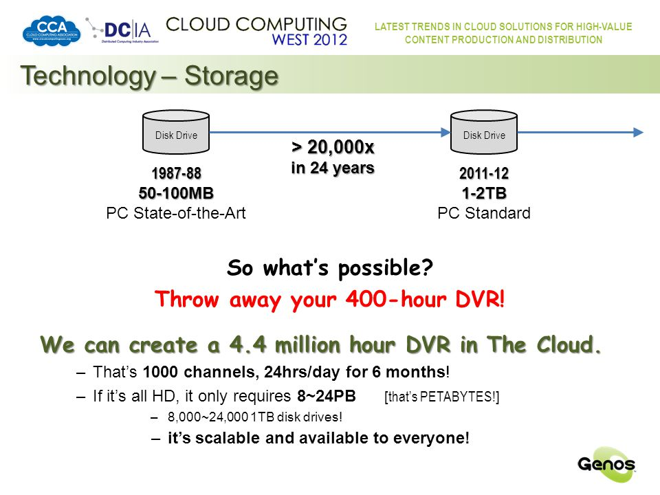 LATEST TRENDS IN CLOUD SOLUTIONS FOR HIGH-VALUE CONTENT PRODUCTION AND DISTRIBUTION Technology – Broadband Needed technologies are readily available.