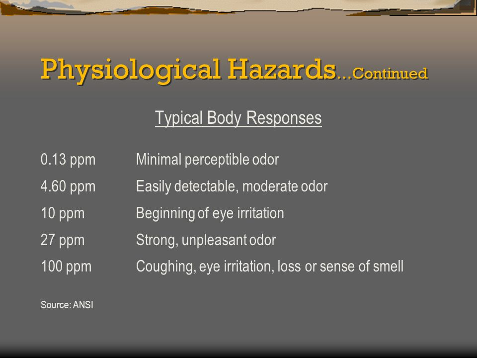 Physiological Hazards …Continued Typical Body Responses (Continued) 200 - 300 ppmMarked conjunctivitis and respiratory tract irritation 500 - 700 ppmLoss of consciousness & possible death 700 - 1000 ppmRapid unconsciousness, cessation of respiration, death 1000 – 2000 ppmUnconscious at once, death may occur even if the victim is removed to fresh air at once Source: ANSI