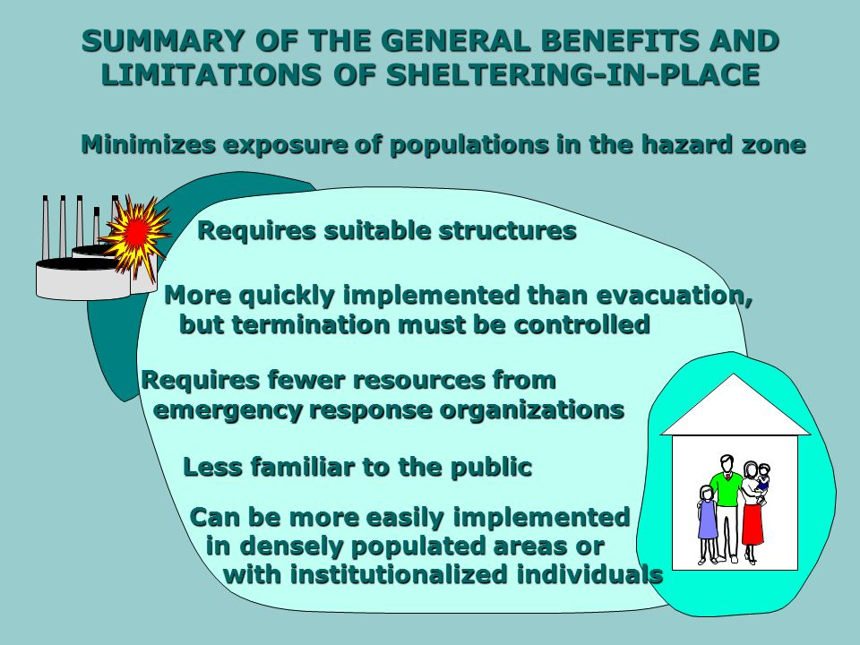 EVACUATION The recommended or required relocation of the public from an area of unacceptably high risk to an area of acceptably low risk SHELTERING-IN-PLACE Sheltering-in-place is the use of a structure and its indoor air to temporarily isolate individuals from a hazardous outdoor atmosphere BREATHING AND SKIN PROTECTION Breathing and skin protection are the use of readily available materials by an individual to minimize inhalation or skin contact with the hazardous material COMBINED PROTECTIVE ACTIONS The use of more than one protective action during an incident for different locations, at different times, or to enhance the use of a single protective action DEFINITIONS OF BASIC OPTIONS FOR PROTECTIVE ACTION DURING HAZARDOUS MATERIALS EMERGENCIES