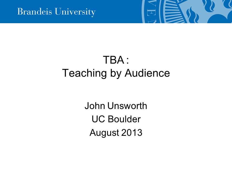 Teaching My bit of the future of digital humanities in higher education is about teaching, the T in my TBA.