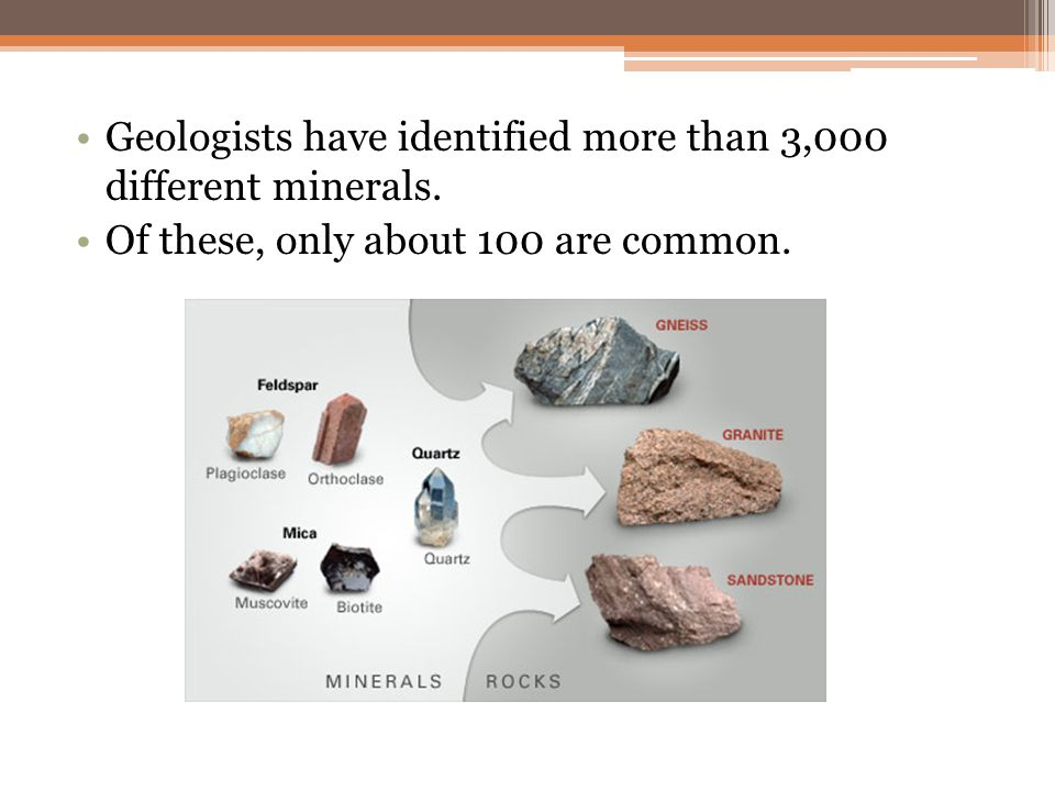 About 20 minerals make up most of the rocks of Earth's crust.