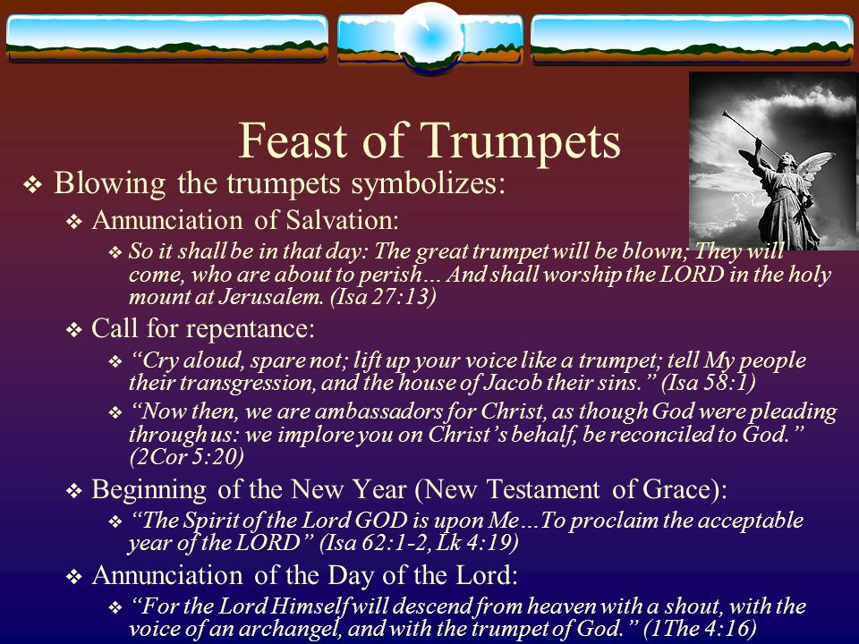 Great Day of Atonement  Yom Kippur  (Lev 16, Lev 23:26-32)  Christ, the Redeemer; The Day of the Lord  A day of great affliction  You shall afflict your souls, and offer an offering made by fire to the LORD.