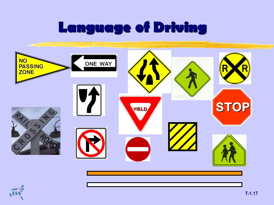 T-1.17 YIELD Language of Driving STOP NOPASSINGZONE ONE WAY