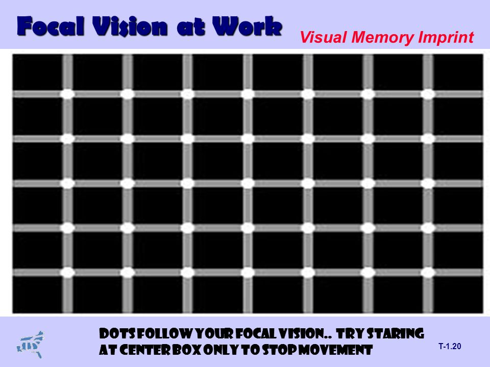 T-1.20 Focal Vision at Work Visual Memory Imprint DOTS FOLLOW YOUR FOCAL VISION..