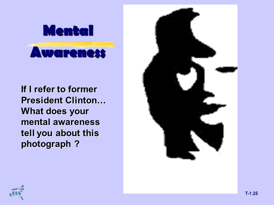 T-1.25 Mental Awareness If I refer to former President Clinton… What does your mental awareness tell you about this photograph ?