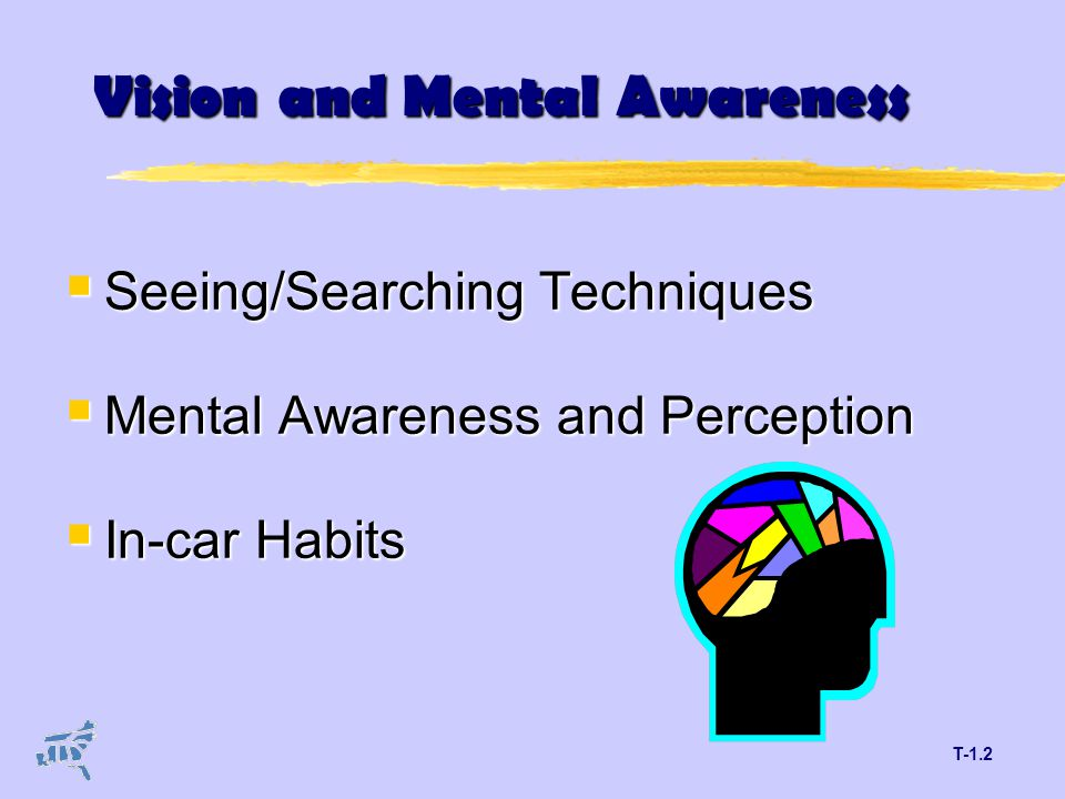 T-1.2 Vision and Mental Awareness  Seeing/Searching Techniques  Mental Awareness and Perception  In-car Habits