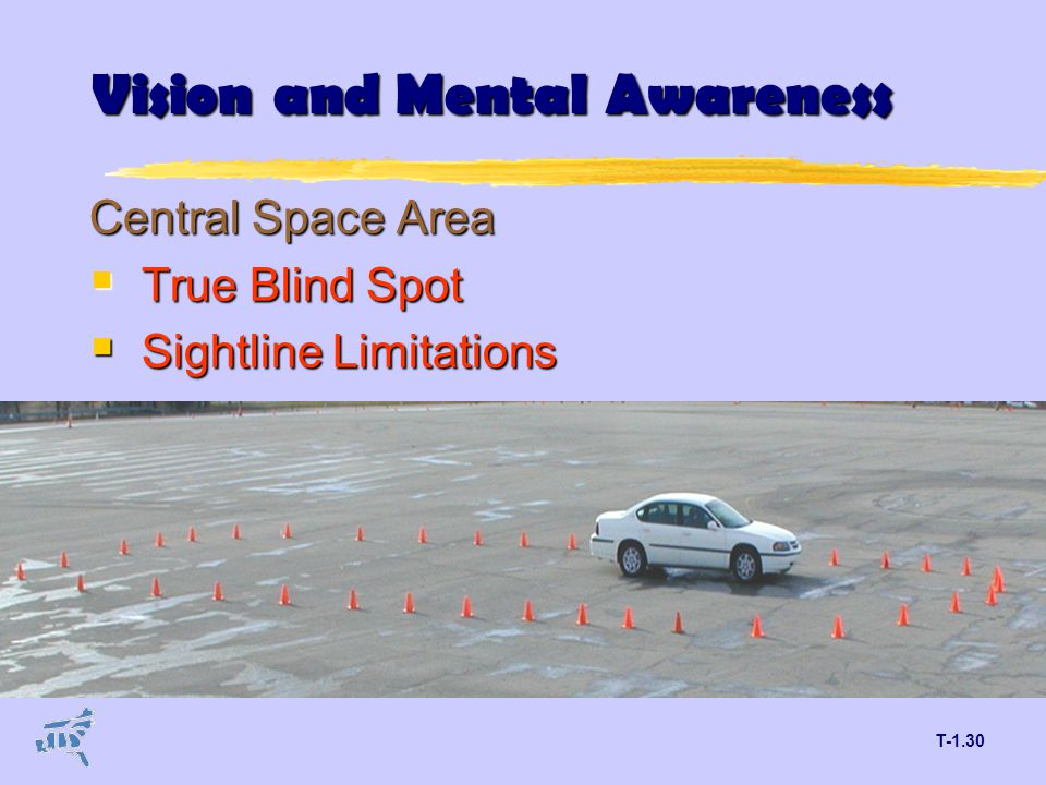 T-1.30 Vision and Mental Awareness Central Space Area  True Blind Spot  Sightline Limitations