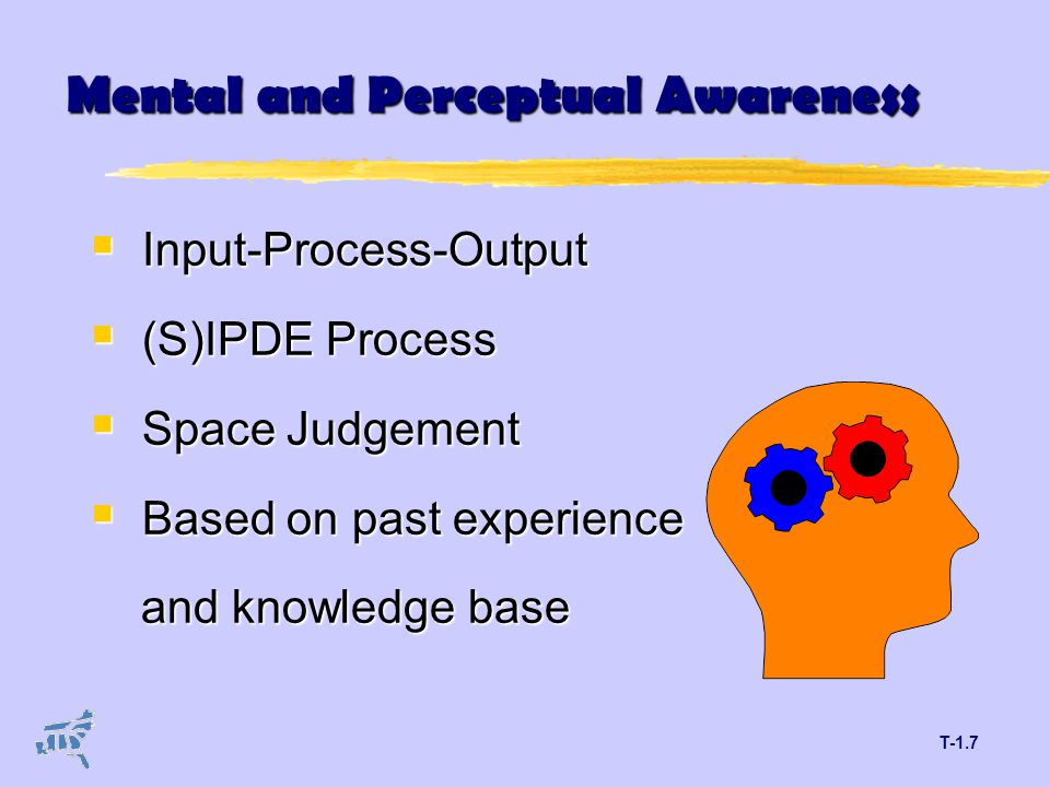 T-1.7 Mental and Perceptual Awareness  Input-Process-Output  (S)IPDE Process  Space Judgement  Based on past experience and knowledge base and knowledge base