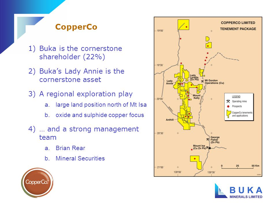 1)Buka is in syndicate with Mizuho and Investec a.formed to acquire Gympie Gold debt b.now acquiring Gympie Eldorado assets 2)$4-5 million 2004/05 exploration programme commenced a.stop-start exploration history has not done the field justice b.key target is South Inglewood prospect Buka and its partners have relaunched exploration at Gympie Eldorado