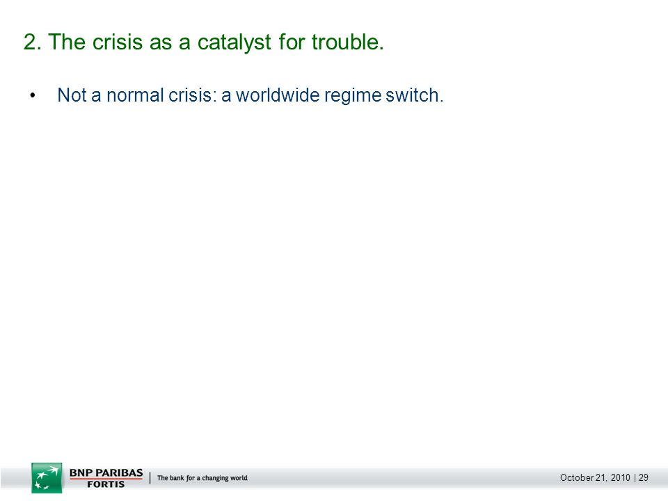 October 21, 2010   30 Not a normal crisis: a worldwide regime switch.