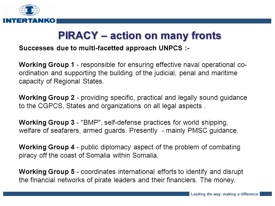 Leading the way; making a difference PIRACY – Where are we NEXT.