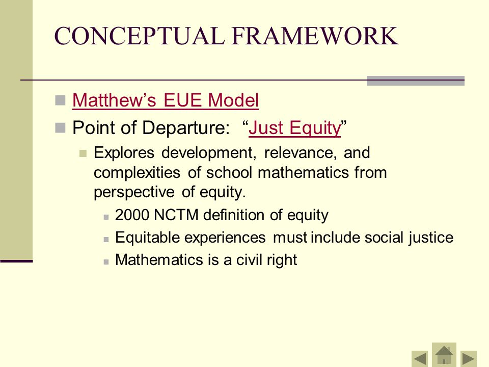 ENGAGEMENT Current equity NCTM's Equity Principle: Excellence in mathematics education requires equity- high expectations and strong support for all students.