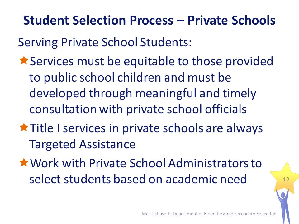 Student Selection Process – Required Documents Student Selection Procedure  Timing of selection  Scoring process  Rank-order lists  Statement of equal opportunity 13 Massachusetts Department of Elemetary and Secondary Education