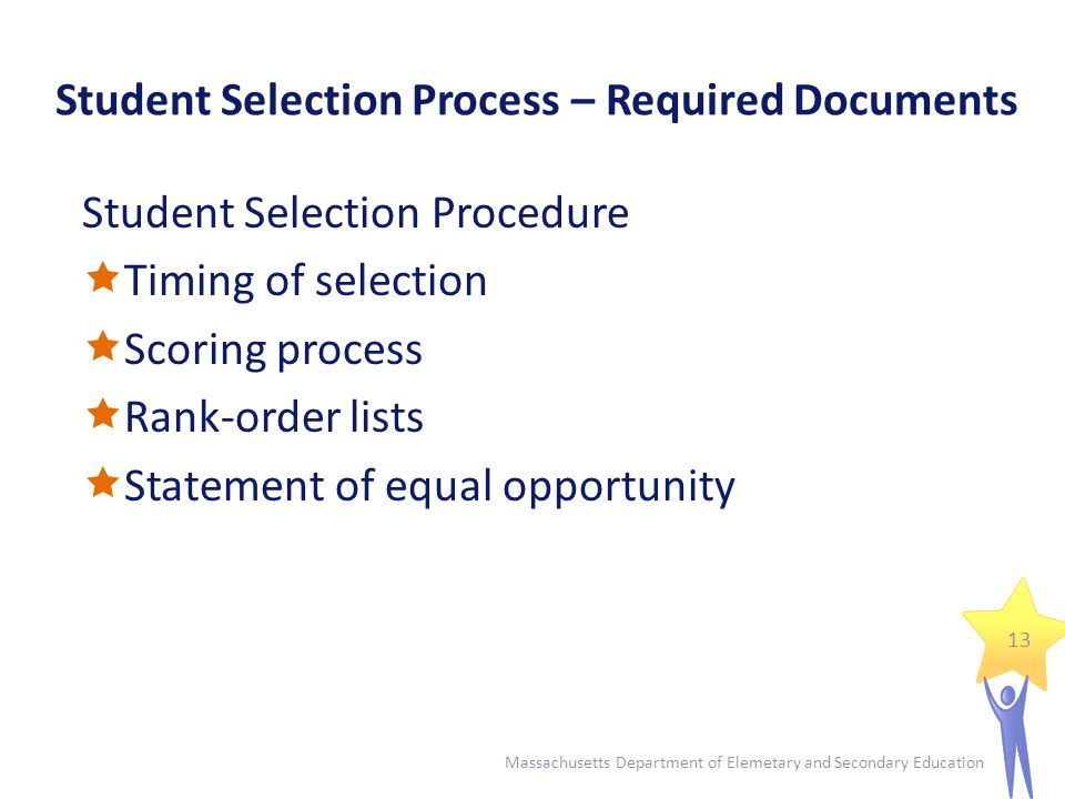 Student Selection Process – Required Documents Selection Criteria Sheets  Separate criteria sheet for each subject area and grade level  Assign point values for each criterion  Use multiple, educationally-related, objective criteria  No points for information unrelated to current academic performance 14 Massachusetts Department of Elemetary and Secondary Education
