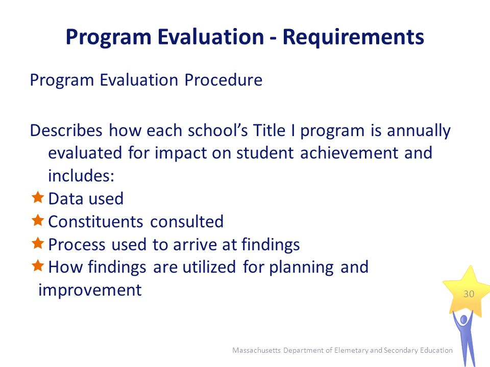 Program Evaluation - Requirements Program Evaluation Summary Summarizes the findings of the evaluation and discusses:  Program strengths  Program weaknesses  Subsequent program changes Sample documents: http://www.doe.mass.edu/titlei/monitoring/ http://www.doe.mass.edu/titlei/monitoring/ 31 Massachusetts Department of Elemetary and Secondary Education