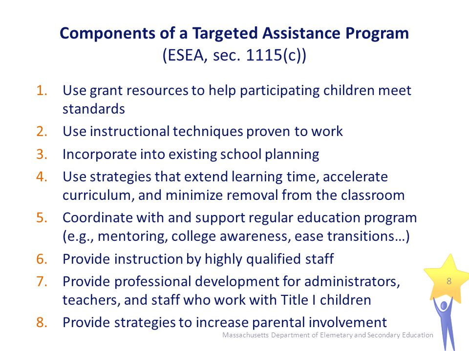 Student Selection Process Targeted Assistance Programs specifically serve students who are failing or most at risk of failing to meet the state academic standards.