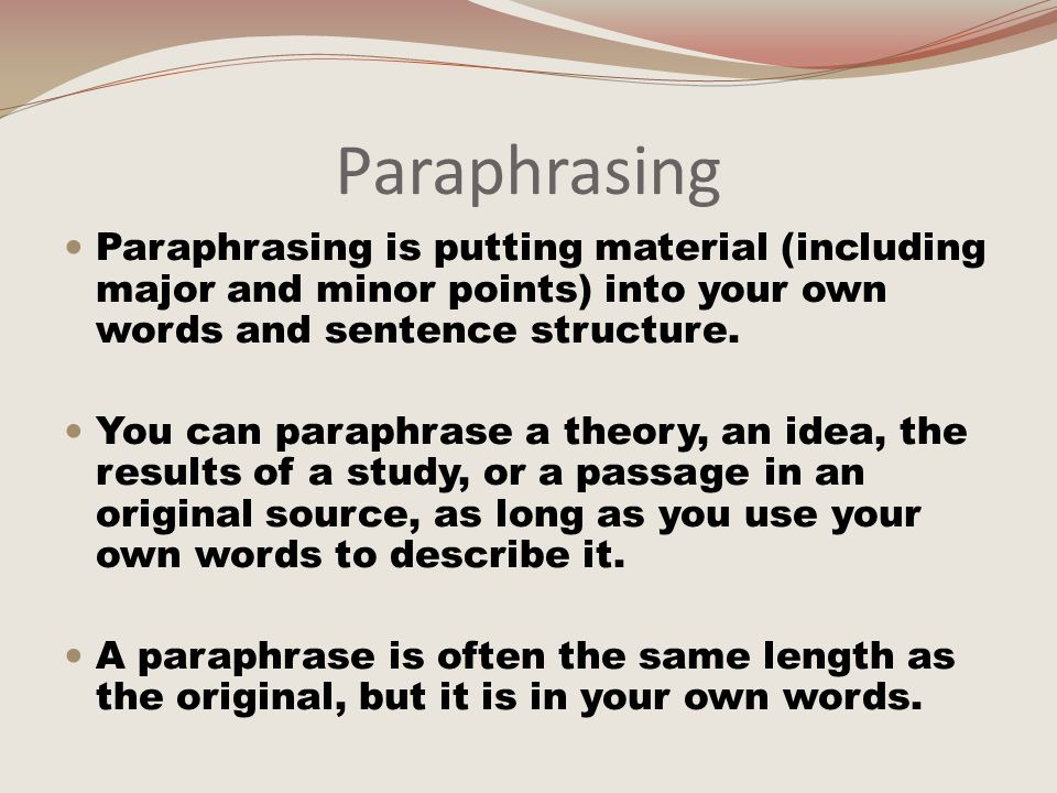 Example of Paraphrase Original Text (from James C.