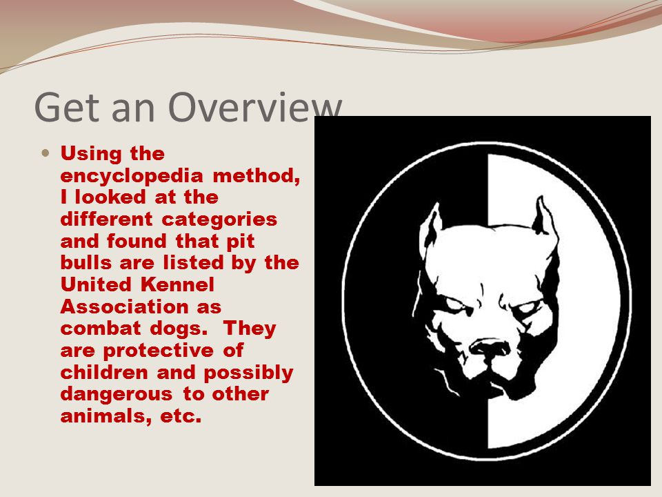 Focus your topic: Purpose Statement Pit bulls: From my reading, I learned that pit bulls are dangerous and unpredictable, even if trained properly.
